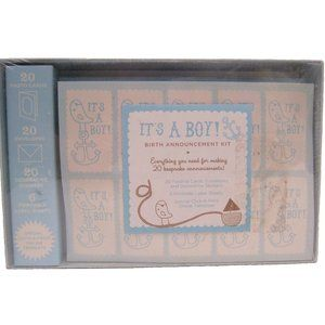 It's A Boy Birth Announcement Kit 20 Cards